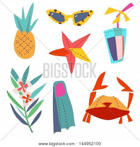 Set cartoon patch badges or fashion pin badges. pineapple, sunglasses, cocktail, starfish, palm branch hand drawn vector full color sketch