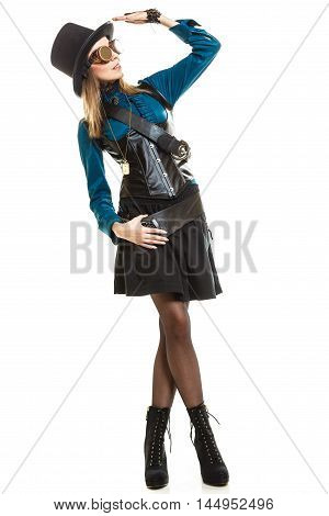 Steampunk Girl With Hat Saluting.