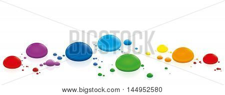 Rainbow colored drops - isolated vector illustration on white background.