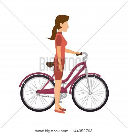 cyclist woman riding sport bicycle exercise training with protection equipment vector illustration