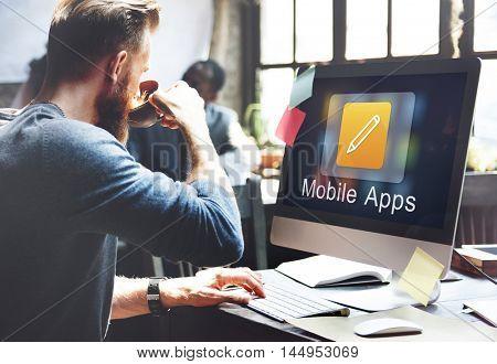Mobile Application Design Illustrator Creativity Concept