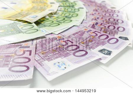 Many Different Euro Bills.