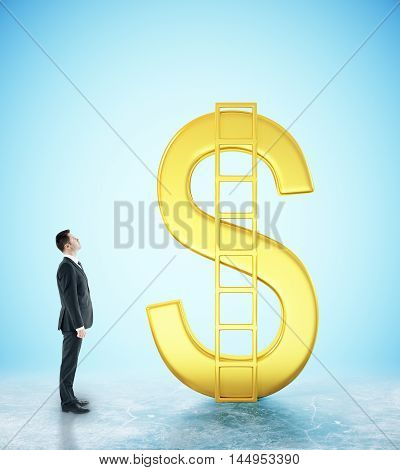 Financial growth concept with businessman looking at abstract golden dollar sign with ladder on blue background. 3D Rendering