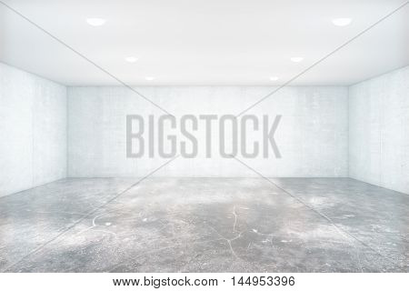 Empty unfurnished light concrete interior with blank walls. Mock up 3D Rendering