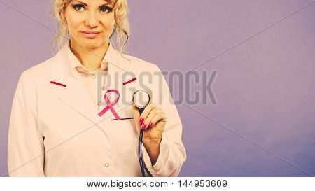 Doctor With Pink Cancer Ribbon