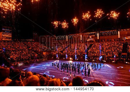 MOSCOW RUSSIA - AUGUST 26 2016: Spasskaya Tower international military music festival. The Slovenian Show Band Laško at the Red Square