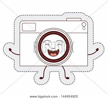 camera cartoon sticker face happy icon. Isolated and Flat design. Vector illustration