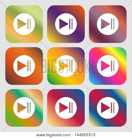 Play Button Icon . Nine Buttons With Bright Gradients For Beautiful Design. Vector