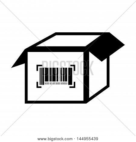 box barcode with serial number data information scanner vector illustration