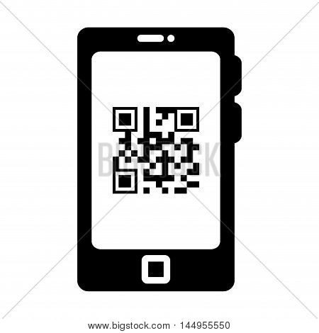smartphone qr quick response code black squares barcode technology vector illustration