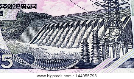 5 North Korea won bank note. North Korea won is the national currency of North Korea