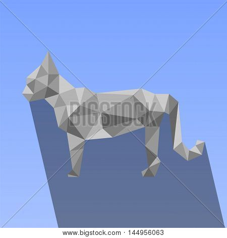 Polygonal cat with shadow vector illustration on blue background. Low poly domestic animal. Grey triangles modern abstract pet portrait. Kitty cat icon or print. Flat cat digital graphic