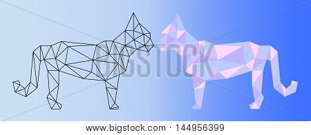 Low poly cat vector illustration. Two polygonal cat silhouettes - black outlined polygonal cat and pink shades colorful polygonal cat. Horizontal banner template with domestic animal. Pet artwork