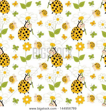 Vector seamless patter with ladybug, snail, butterfly and daisy