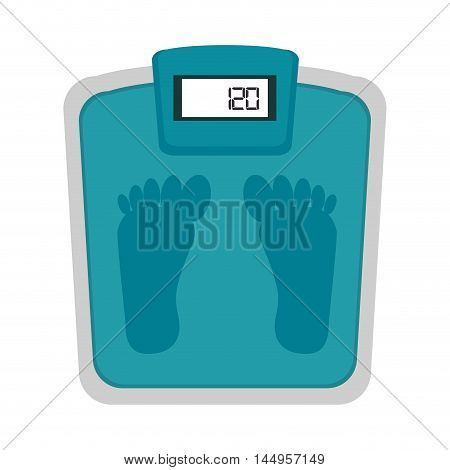 scale weight foot measure balance fitness lifestyle vector illustration