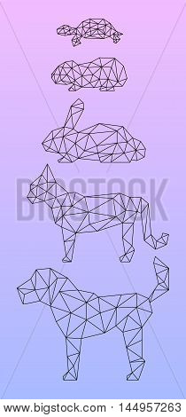 Low poly pets outlined black line. Vertical vector illustration with dog cat rabbit guinea pig turtle. Domestic animals silhouettes for banner template or digital design. Polygonal animal icon