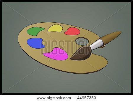 Stylized flat illustration of Brush and Color Pallete