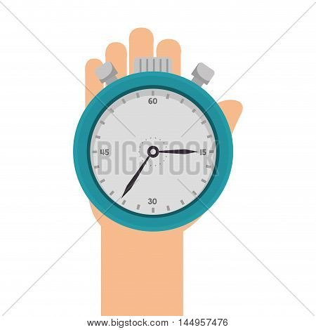 hand holding a chronometer count time instrument  vector illustration
