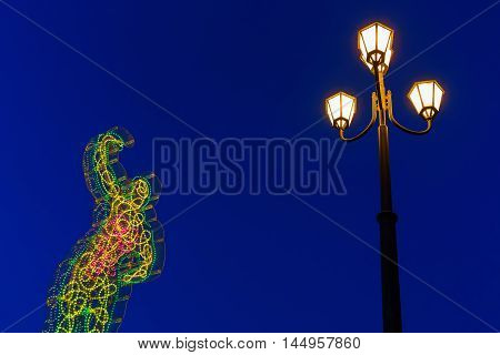 Light Sculptures In Pisa, Italy, At Night