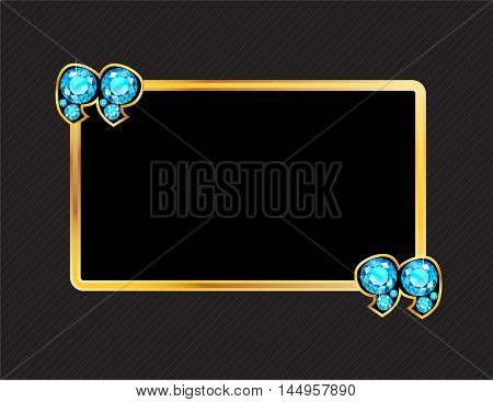 Aquamarine Stone Quotes on Gold Metal Speech Bubble over Pinstripe Background