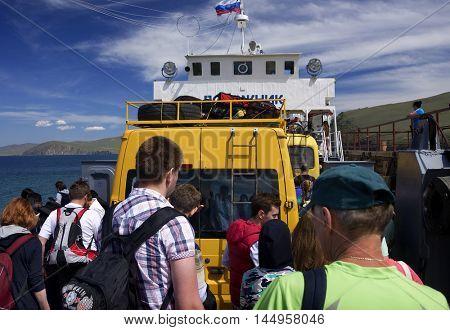 BAIKAL LAKE, OLKHON ISLAND, RUSSIA - 7 JULY, 2016: Ferryboat at Baikal Lake, Olkhon Island, Siberia, Russian Federation