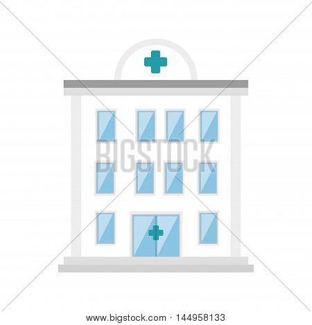 hospital clinic tower building architecture medicine vector illustration