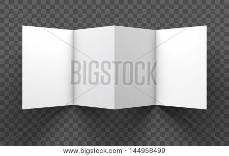 Magazine, booklet, postcard, flyer, trifold or brochure mockup template. Good for business presentations and advertisements. Mockup on transparent background. Vector Illustration.