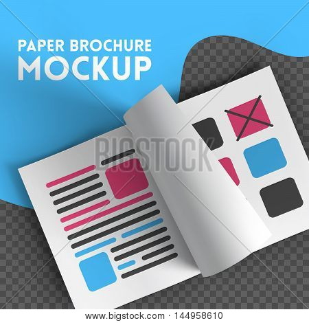 Magazine, booklet, postcard, flyer or brochure mockup template. Good for business presentations and advertisements. Mockup on transparent background. Top view. Vector Illustration.