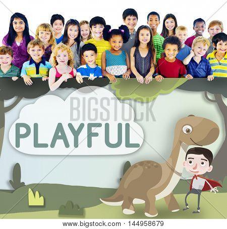 Kids Playful Young Childhood Enjoyment Concept