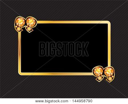 Citrine Stone Quotes on Gold Metal Speech Bubble over Pinstripe Background