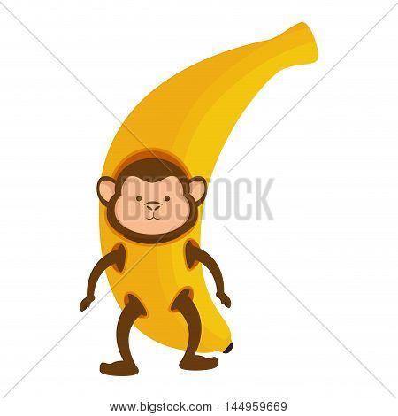 monkey wearing banana costume fruit animal cartoon funny wildlife vector illustration