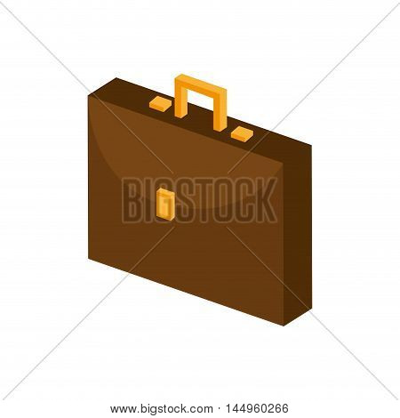 briefcase executive portfolio business brown leather accessory vector illustration