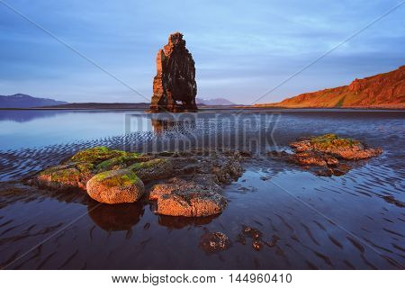 Hvitserkur rock at low tide. Morning landscape with rocks in the ocean. Beautiful sunshine. Algae on stones and patterns in the sand. Tourist attraction.  Iceland, Europe