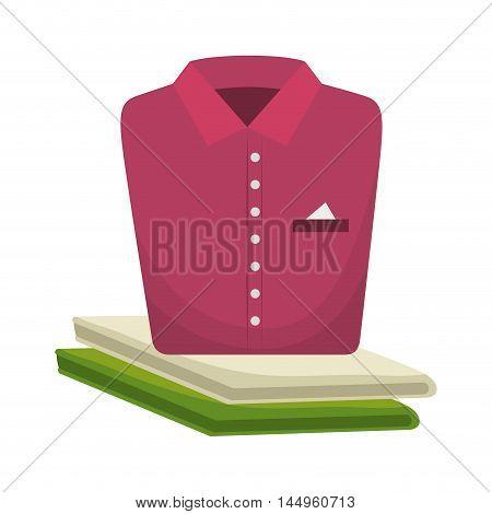 pink shirt folded elegant clothes laundry clothing vector illustration
