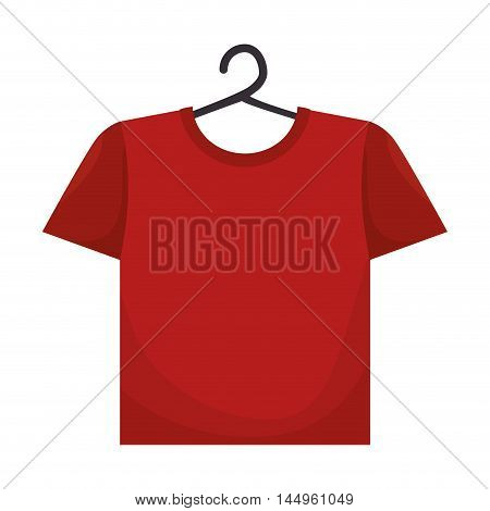 clothes laundry  red t shirt cotton hanging wash vector illustration