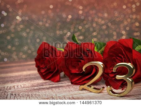 birthday concept with red roses on wooden desk. 3D render - twenty-third birthday. 23rd