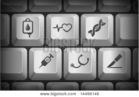 Medical Icons on Computer Keyboard Buttons Original Illustration