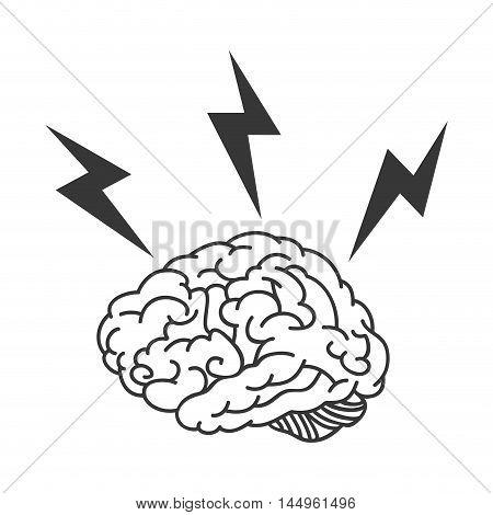 human brain bolt energy power organ mind head intelligence idea vector illustration