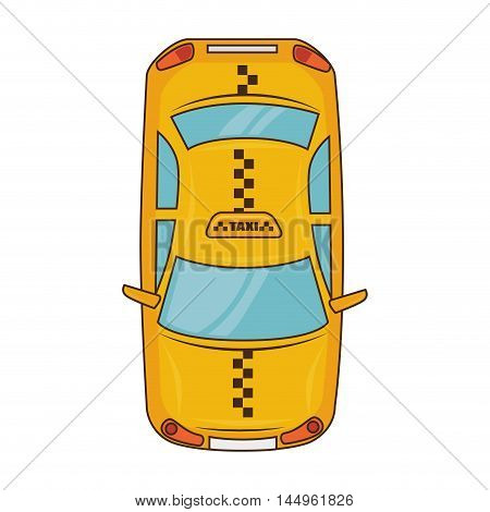 taxi car yellow cab service transport vehicle vector illustration