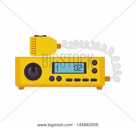 radio taxi cab equipment communication public service vector illustration
