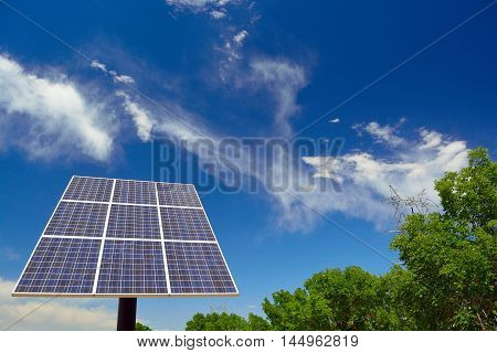 Solar Panel on a Sunny Day with Trees and Clouds