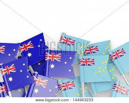 Flags Of Australia And Tuvalu Isolated On White