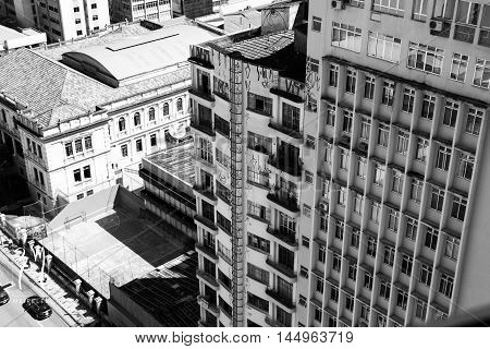 a photo of a street view of Curitiba from a high place
