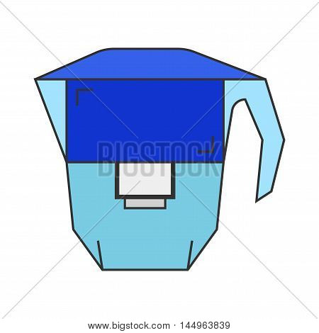 Carafe. Water filter. Flat icon and object. Vector illustration