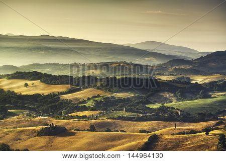 Tuscany Maremma foggy morning farmlands and green fields country landscape. Italy Europe.