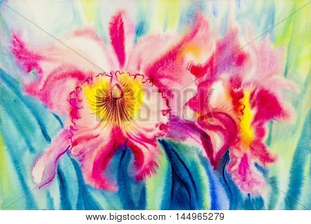 Abstract watercolor original painting purplepink color of orchid flower and green leaves in blue background.