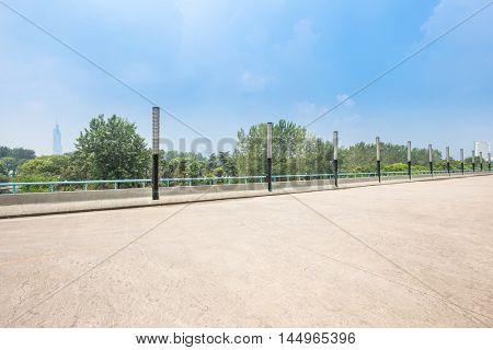empty square in guangzhou in blue sky