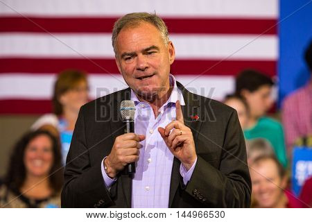Lancaster PA - August 30 2016: Democrat Party Vice Presidential Candidate Senator Tim Kaine speaks at a campaign appearance at a rally.