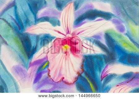 Abstract watercolor original painting pink color of orchid flower and green leaves in blue background.