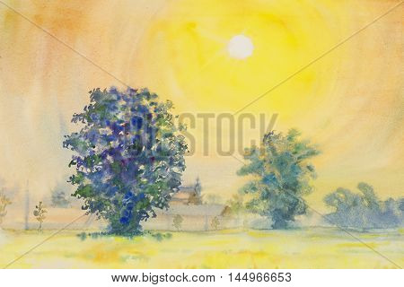 watercolor painting yellow orange color of sunrise in sky and cloud background original painting